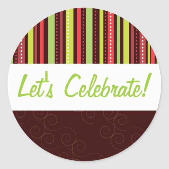 Festive Holiday Red & Green Polka Dot & Stripes Classic Round Sticker
