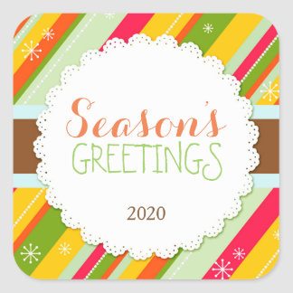 Festive Holiday Stripes Season's Greetings Sticker