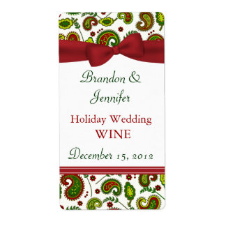 Festive Holiday Wedding Mini Wine Labels