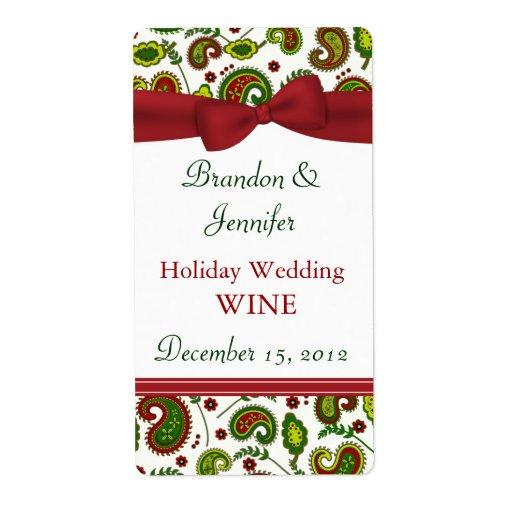 Festive Holiday Wedding Mini Wine Labels