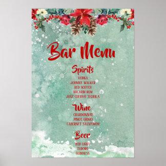 Festive Holidays Bar Menu Winter themed Poster