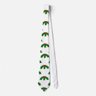 Festive Holly Leaves and Berries Pattern Tie