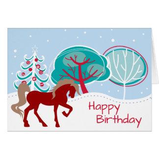 Festive Horse Snowy Winter Happy Birthday Card