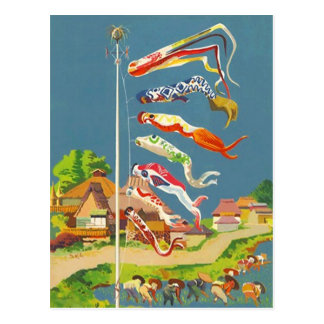 FESTIVE JAPANESE KOINOBORI WINDSOCKS ~ POSTCARD