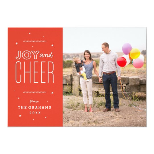 Festive Joy and Cheer Holiday Photo Card