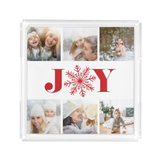 Festive Joy | Holiday Photo Collage Acrylic Tray