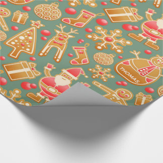 Festive Joy | Named Gift Wrap Turquoise Gold Red