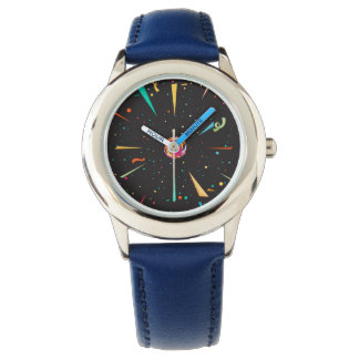 Festive kid's watch with colorful confetti designs