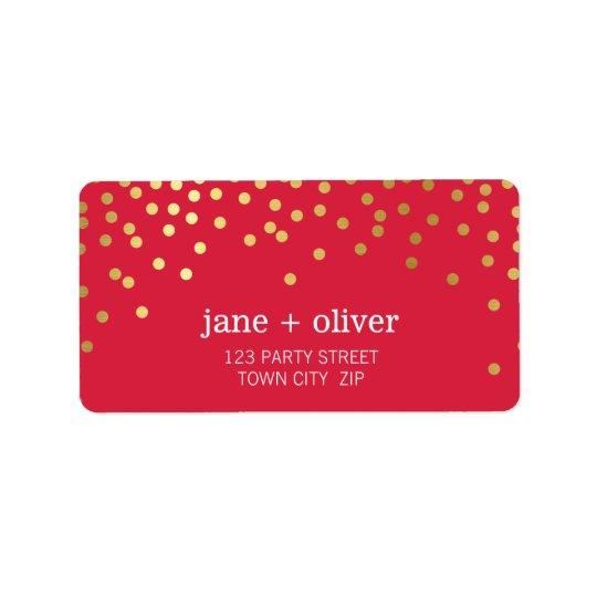 FESTIVE LABEL modern confetti spots gold foil red