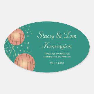 Festive Lanterns with Pastel Sea Green & Tea Rose Oval Sticker