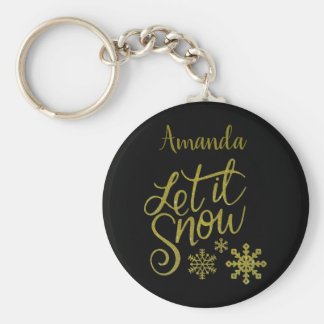 "Festive ""Let it Snow"" Black Gold Glitter Keychain"