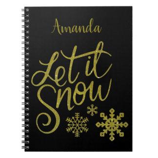 "Festive ""Let it Snow"" Black Gold Glitter Notebooks"