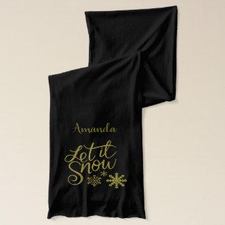 "Festive ""Let it Snow"" Black Gold Glitter Scarf"