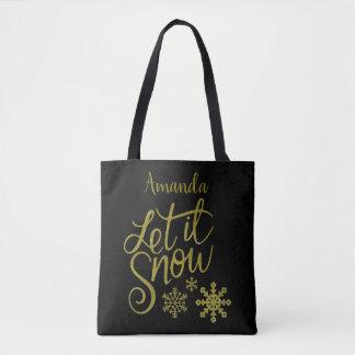"Festive ""Let it Snow"" Black Gold Glitter Tote Bag"