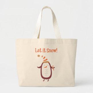 Festive Let It Snow Large Tote Bag