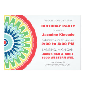 Festive Mandala Birthday Party Invitations