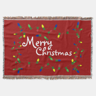 Festive Merry Christmas Lights Throw Blanket