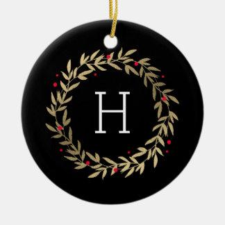 Festive Monogram Editable Color Custom Ornament
