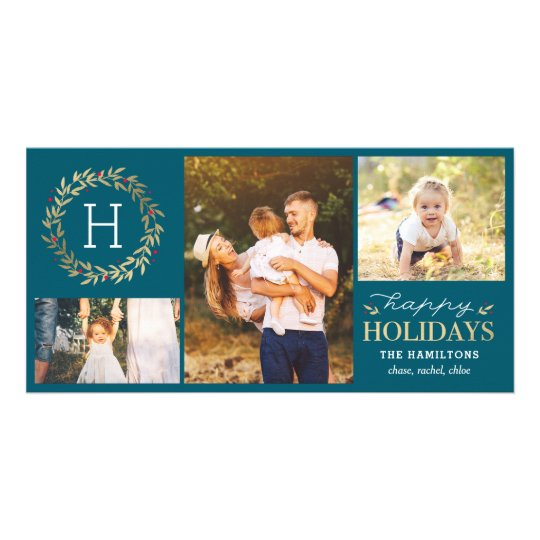 Festive Monogram Editable Colour Holiday Card