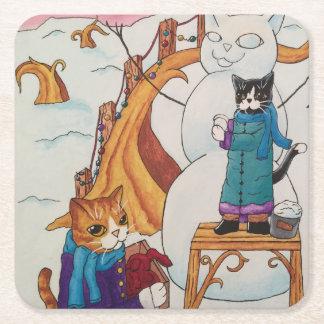 Festive Morning Square Paper Coaster