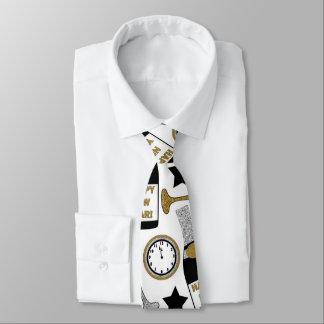 Festive New Years Eve pattern tie