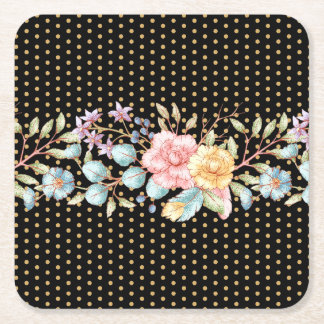 Festive Night Blooms Square Paper Coaster