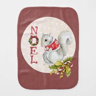 Festive Noel Squirrel Burp Cloth