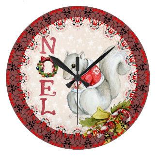 Festive Noel Squirrel Large Clock