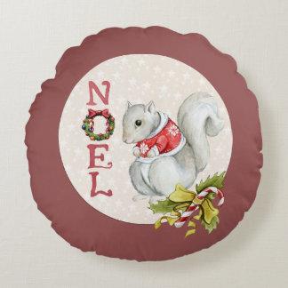 Festive Noel Squirrel Round Pillow