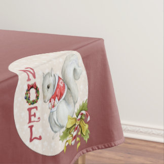 Festive Noel Squirrel Tablecloth