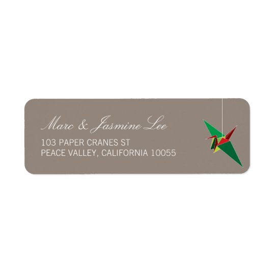 Festive Origami Paper Crane Holiday Address Labels