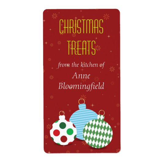 Festive Ornaments Christmas Baking Label