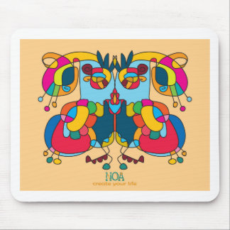 festive owl going to a party mouse pad