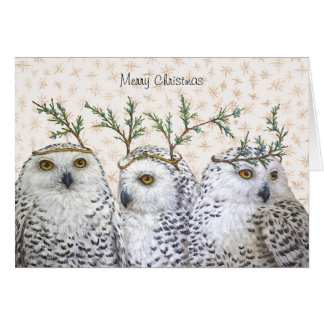 Festive owls on snow Christmas card