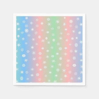 Festive Pastel Stripes and Snowflake Disposable Napkins