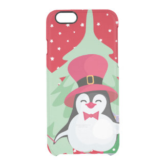 Festive Penguin with Sleigh Clear iPhone 6/6S Case