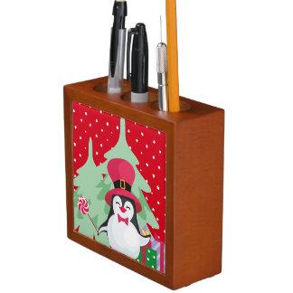 Festive Penguin with Sleigh Desk Organizer