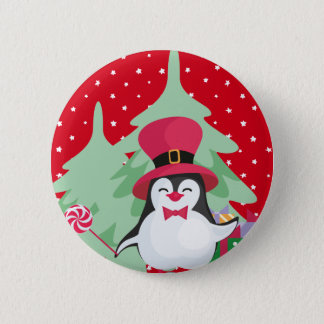 Festive Penguin with Sleigh - Red 2 Inch Round Button