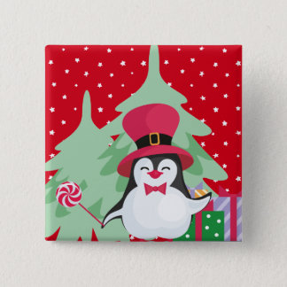 Festive Penguin with Sleigh - Red 2 Inch Square Button