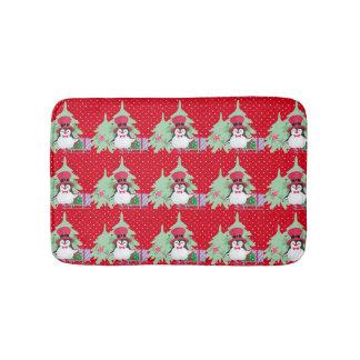 Festive Penguin with Sleigh - Red Bath Mat