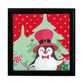 Festive Penguin with Sleigh - Red Gift Box