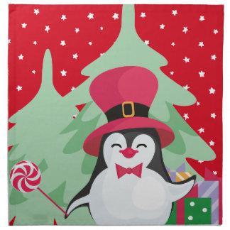 Festive Penguin with Sleigh - Red Napkin