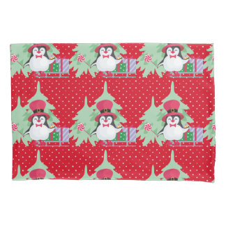 Festive Penguin with Sleigh - Red Pillowcase