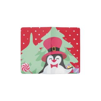 Festive Penguin with Sleigh - Red Pocket Moleskine Notebook