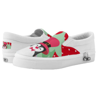 Festive Penguin with Sleigh - Red Slip-On Sneakers