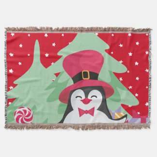 Festive Penguin with Sleigh - Red Throw Blanket