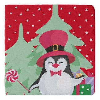 Festive Penguin with Sleigh - Red Trivet