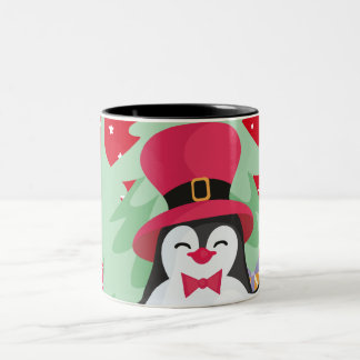 Festive Penguin with Sleigh - Red Two-Tone Coffee Mug