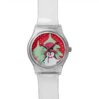 Festive Penguin with Sleigh - Red Watch