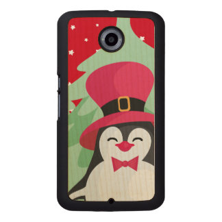 Festive Penguin with Sleigh Wood Phone Case